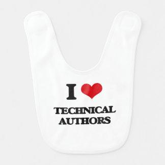 Amo a autores técnicos baberos para bebé