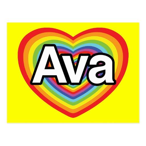 Amo a Ava, corazón del arco iris Postales