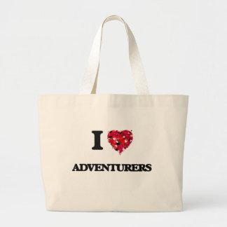 Amo a aventureros bolsa tela grande