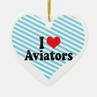 Amo a aviadores adorno de cerámica en forma de corazón
