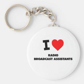 Amo a ayudantes de la emisión de radio llaveros personalizados
