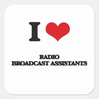 Amo a ayudantes de la emisión de radio calcomanía cuadrada personalizada