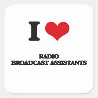 Amo a ayudantes de la emisión de radio pegatinas cuadradases
