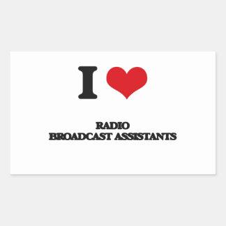 Amo a ayudantes de la emisión de radio rectangular pegatina