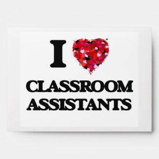 Amo a ayudantes de la sala de clase sobre