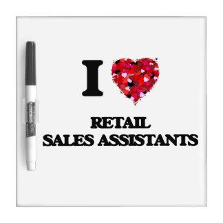 Amo a ayudantes de las ventas al por menor tableros blancos