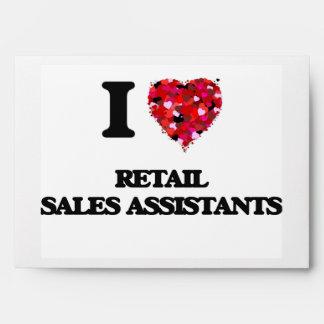 Amo a ayudantes de las ventas al por menor sobre