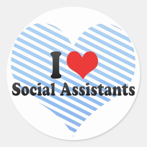 Amo a ayudantes sociales etiqueta redonda