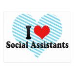 Amo a ayudantes sociales tarjeta postal
