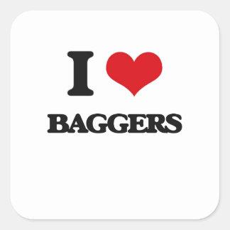 Amo a Baggers Calcomanía Cuadradas