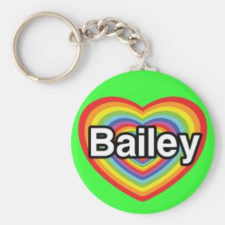 Amo a Bailey, corazón del arco iris Llavero Redondo Tipo Pin