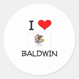 Amo a BALDWIN Illinois Pegatina Redonda