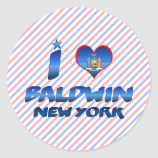 Amo a Baldwin, Nueva York Pegatina Redonda