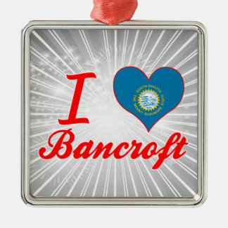 Amo a Bancroft, Dakota del Sur Adorno Cuadrado Plateado