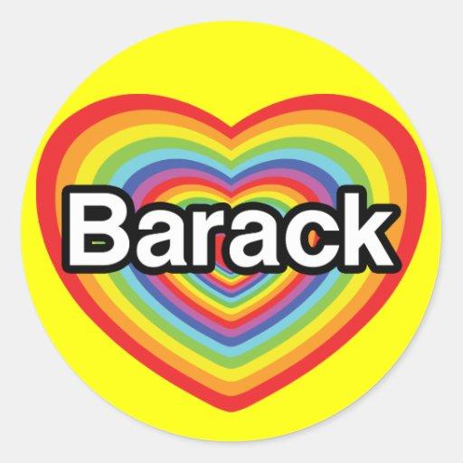 Amo a Barack Obama: corazón del arco iris Pegatina Redonda