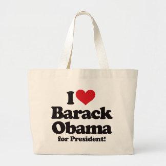 Amo a Barack Obama para el presidente Bolsa Tela Grande