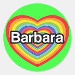 Amo a Barbara, corazón del arco iris Etiquetas Redondas