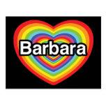 Amo a Barbara, corazón del arco iris Postales