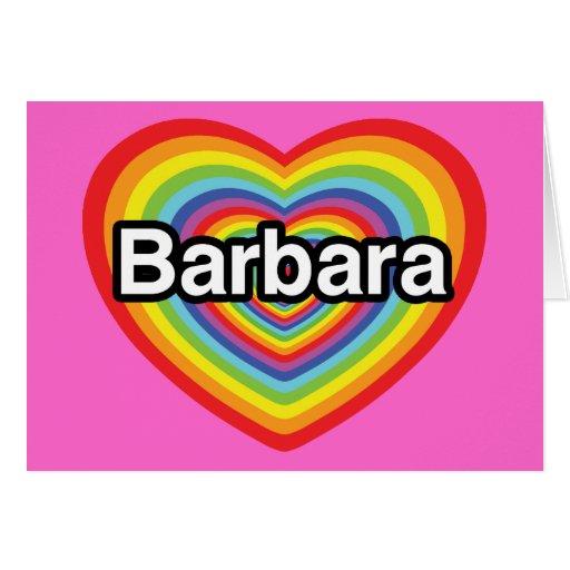 Amo a Barbara, corazón del arco iris Tarjetas