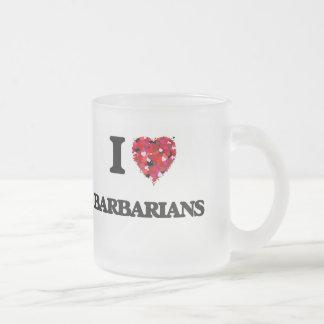Amo a bárbaros taza cristal mate