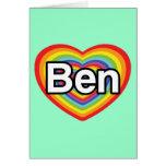 Amo a Ben: corazón del arco iris Tarjeta De Felicitación