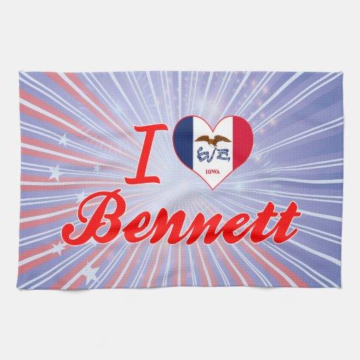 Amo a Bennett, Iowa Toalla De Mano