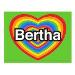 Amo a Bertha. Te amo Bertha. Corazón Postales