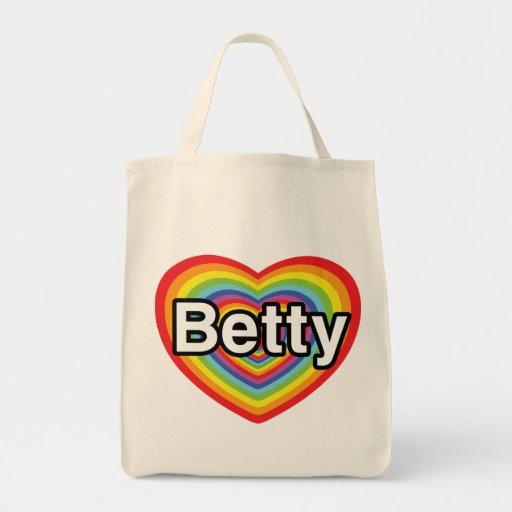 Amo a Betty: corazón del arco iris Bolsa Tela Para La Compra