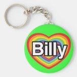 Amo a Billy: corazón del arco iris Llavero Redondo Tipo Pin