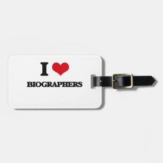 Amo a biógrafos etiquetas bolsas