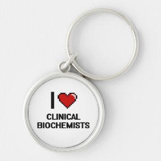 Amo a bioquímicos clínicos llavero redondo plateado