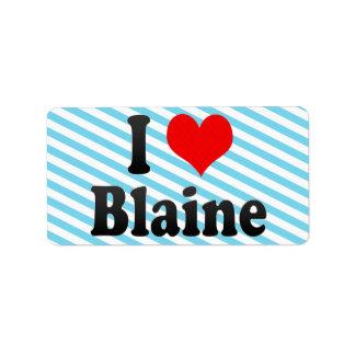 Amo a Blaine, Estados Unidos Etiqueta De Dirección