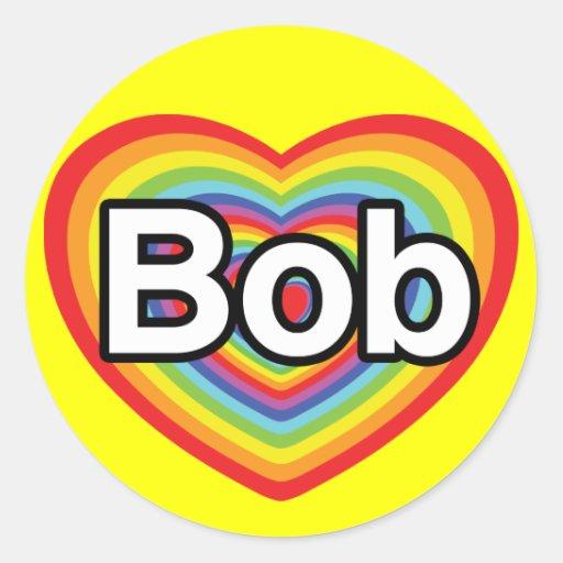 Amo a Bob: corazón del arco iris Pegatina Redonda