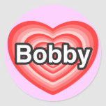 Amo a Bobby. Te amo Bobby. Corazón Pegatina Redonda