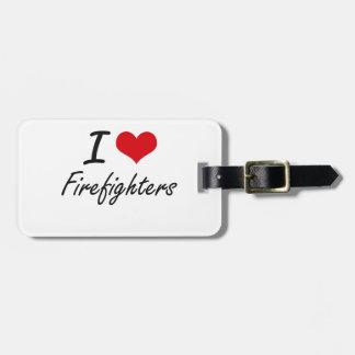Amo a bomberos etiquetas para maletas