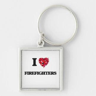 Amo a bomberos llavero cuadrado plateado
