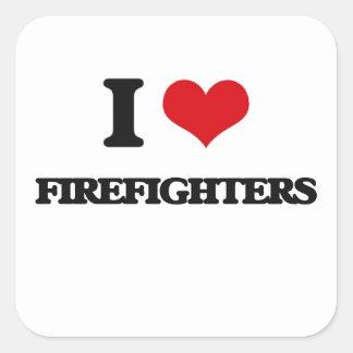 Amo a bomberos colcomanias cuadradas personalizadas