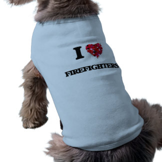 Amo a bomberos playera sin mangas para perro