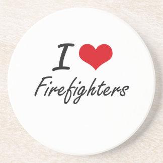 Amo a bomberos posavaso para bebida