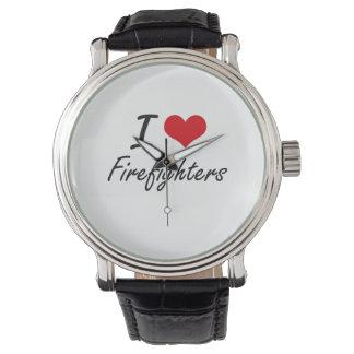 Amo a bomberos reloj de mano