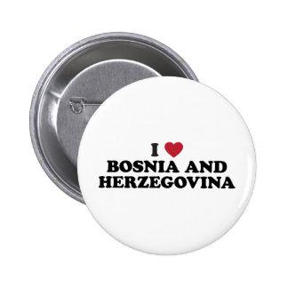 Amo a Bosnia y Herzegovina Pin Redondo De 2 Pulgadas