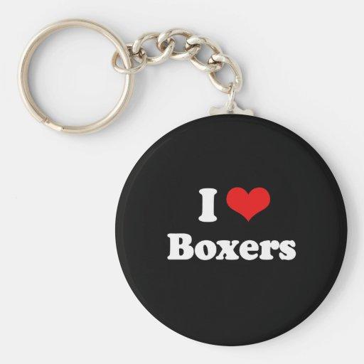 Amo a boxeadores llaveros personalizados