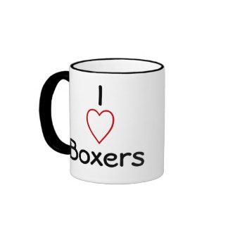 Amo a boxeadores taza a dos colores