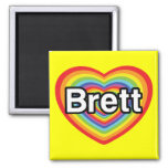 Amo a Brett: corazón del arco iris Imanes Para Frigoríficos