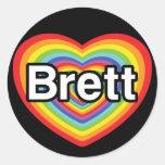 Amo a Brett: corazón del arco iris Pegatinas Redondas