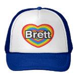 Amo a Brett. Te amo Brett. Corazón Gorros Bordados