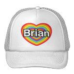 Amo a Brian: corazón del arco iris Gorros