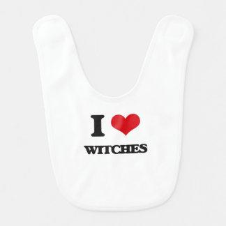 Amo a brujas babero de bebé