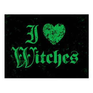 Amo a brujas tarjeta postal