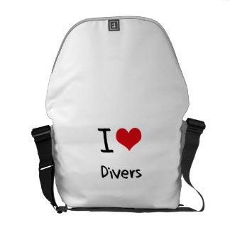 Amo a buceadores bolsas de mensajería